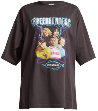Balenciaga Speedhunter Logo Print Cotton Jersey T Shirt - Womens - Black Print