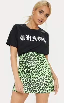 PrettyLittleThing Petite Burgundy High Waist A Line Leopard Print Skirt