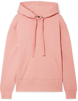 Acne Studios Ferris Face Appliquéd Cotton-jersey Hoodie - Blush