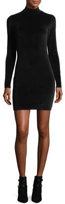 Alexander Wang Long-Sleeve Turtleneck Velour Mini Dress w/ Back Cutout