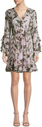 Diane von Furstenberg Mixed-Print Silk Fit--Flare Dress