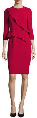 Rickie Freeman for Teri Jon 3/4-Sleeve Crepe Ruffle-Trim Sheath Dress, Red $480 thestylecure.com