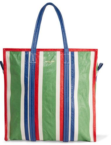 Balenciaga Balenciaga - Bazar Striped Textured-leather Tote - Green