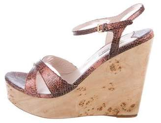 Miu Miu Snakeskin Wedge Sandals