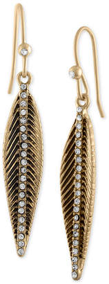 Rachel Roy Gold-Tone Pave Feather Drop Earrings