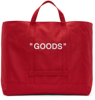 Off-White Red Quote Tote