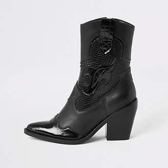 River Island Black leather cutout cowboy ankle boots