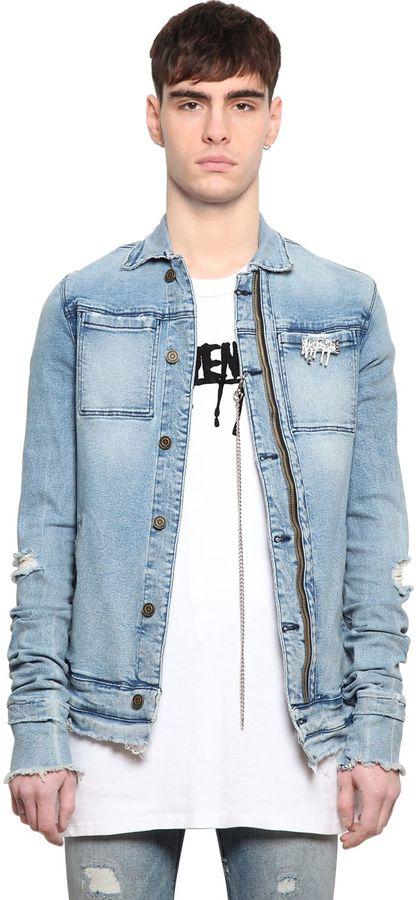 Distressed Light Cotton Denim Jacket