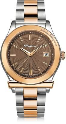 Salvatore Ferragamo 1898 Sport Rose Gold IP and Stainless Steel Men's Bracelet Watch w/Brown Dial