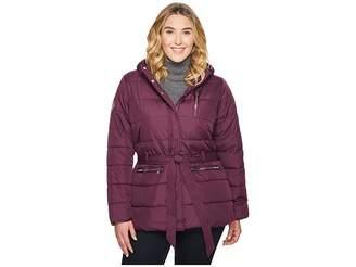 U.S. Polo Assn. Plus Size Long Puffer Jacket with Belt Women's Coat