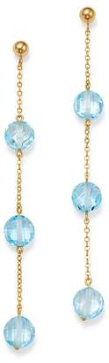 Bloomingdale's Blue Topaz Three-Stone Drop Earrings in 14K Yellow Gold - 100% Exclusive
