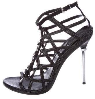 Brian Atwood Studded Snakeskin Sandals