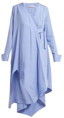 Palmer Harding Palmer//harding - Asymmetric Striped Shirtdress - Womens - Blue