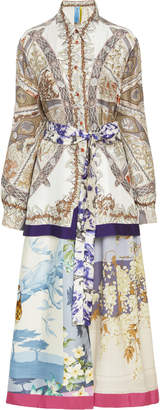 Rianna + Nina Exclusive Printed Silk-Satin Shirt Dress