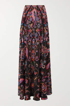 Etro Printed Silk-crepe Maxi Skirt - Black