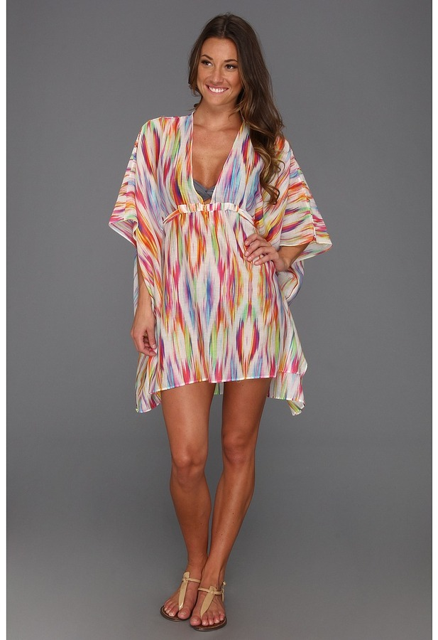 Vitamin A Swimwear Kimono Gloss Silk Tunic Cover-up (Elle Cover Up) Women's Short Sleeve Pullover