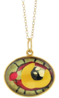 Ileana Makri EYE M by Hand Painted Orange and Pink Evil Eye Necklace