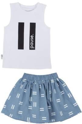 TINY TRIBE Pause Tank & Chambray Skirt Set (Baby Girls)