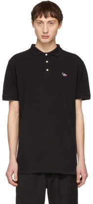 MAISON KITSUNÉ Black Tricolor Fox Patch Polo