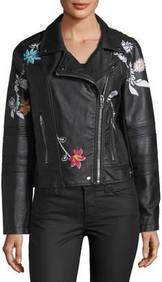 Brandon Thomas Faux-Leather Moto Jacket w/Floral Detail