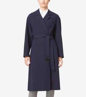 Cole Haan Linen Wrap Maxi Coat
