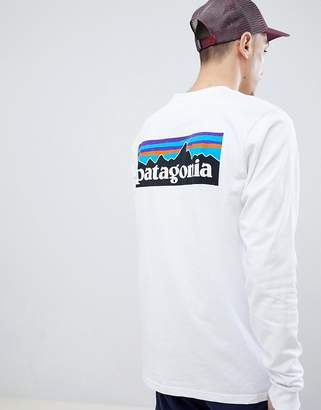 Patagonia P-6 Logo Long Sleeve Responsibili-Tee Top in White