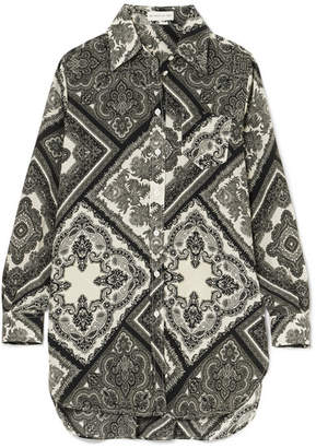 Etro Oversized Printed Silk-georgette Shirt - Black