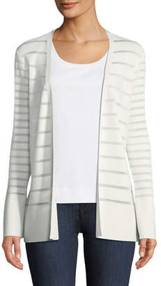 Lafayette 148 New York Matte Crepe Mixed Stripe Cardigan