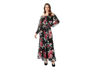 Nine West Printed Chiffon Long Sleeve Maxi w/ Sash Waist Women's Dress