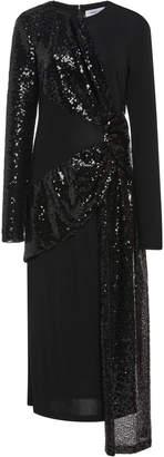 Prabal Gurung Draped Sequin Silk Midi Dress