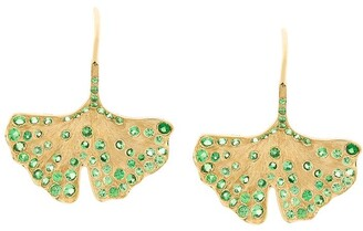 Aurelie Bidermann 18kt yellow gold Ginkgo tsavorite earrings