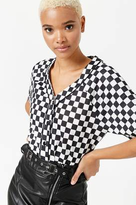 Forever 21 Checkered Mesh Baseball Tee