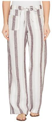 Allen Allen - Four-Pocket Stripe Long Linen Pants Women's Casual Pants $118 thestylecure.com