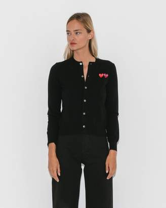 Comme des Garcons Black Play Cardigan w/ Double Heart