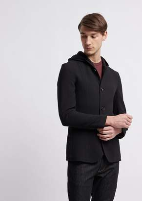 Emporio Armani Jacket With Hood In 3D Ripstop Stretch Virgin Wool