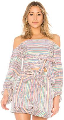 Nicholas Rainbow Stripe Off Shoulder Wrap Top