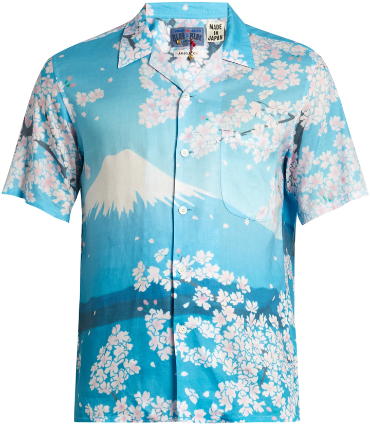 BLUE BLUE JAPAN Japan-print short-sleeved cotton shirt