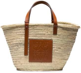 Loewe Large Logo raffia basket bag with leather trim