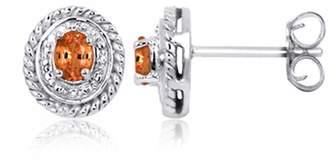 JewelersClub 0.50 Carat T.G.W. Madarine Garnet Gemstone & Accent White Diamond Earring