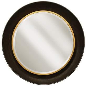 Generic Worldly Round Beveled Mirror - Dark Brown Finish w/ Gold Accent