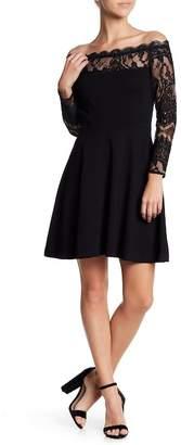 BB Dakota Dennett Lace & Ponte Knit Fit & Flare Dress