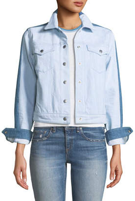 Rag & Bone Nico Two-Tone Snap-Front Denim Jacket