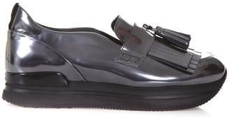 Hogan Metallic Leather Slip-on Sneakers