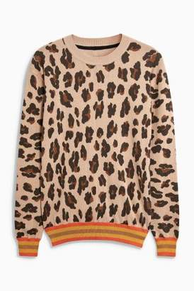 Next Womens Neutral Leopard Animal Print Sweater