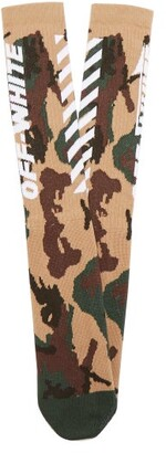 Off-white - White Wings Camouflage Print Ribbed Knits Socks - Mens - Khaki