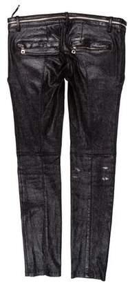 Balmain Metallic Lambskin Pants