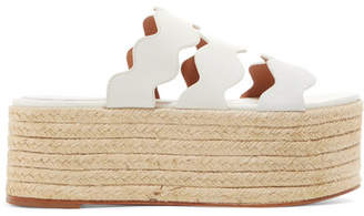 Chloé Lauren Scalloped Suede And Textured-leather Espadrille Platform Slides - White