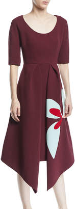 DELPOZO Scoop-Neck Short-Sleeve Asymmetric-Hem Dress w/ Floral-Print