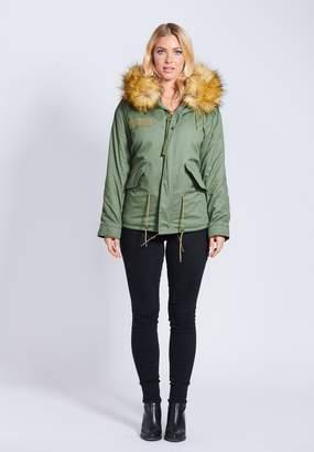 Popski London Fabulous Faux Parka Jacket With Faux Fur Collar Natural