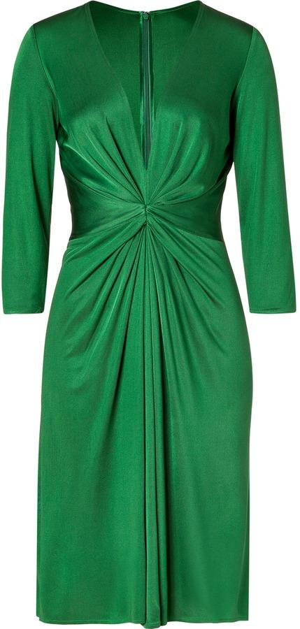 Issa Green 3/4 Sleeve Gathered Silk Jersey Dress for STYLEBOP.com